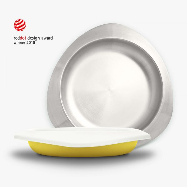 Viida-Souffle-djecji-tanjur-antibakterijski-nehrdajuci-celik-boja-lavande-žuta